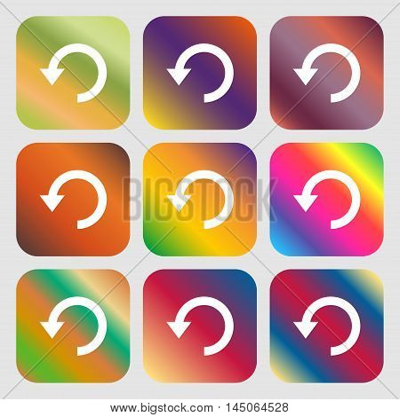 Upgrade, Arrow, Update Icon. Nine Buttons With Bright Gradients For Beautiful Design. Vector
