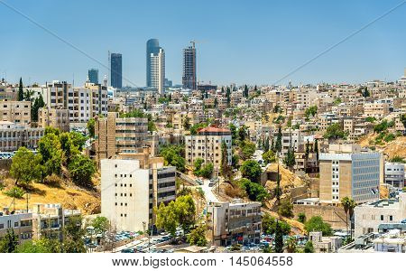 Cityscape of Amman downtown with skyscrapers at background - Jordan