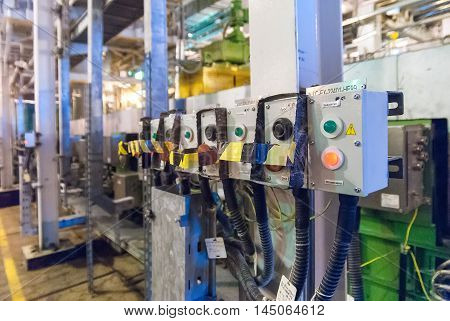 Tobolsk, Russia - July 15. 2016: Sibur company. Tobolsk Polymer plant. Electrical control panel of extruder machine