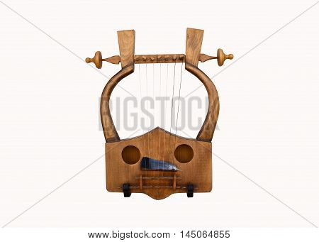 Greek musical instrument lyra isolated over white
