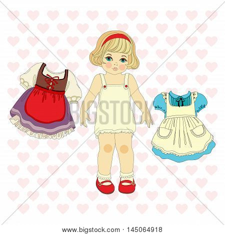 girl and two dresses. vector isolated illustration on white background with hearts