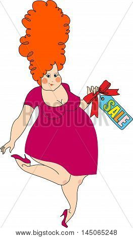 plump pretty woman shows a sign of sale. vector illustration isolated on white background. character in cartoon style