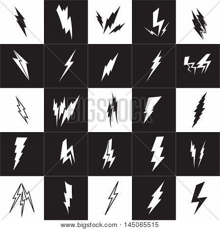 Vector lightning silhouette. Lightning Bolt icon set
