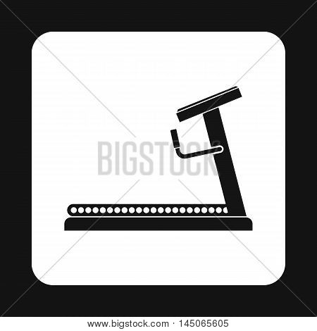 Treadmill icon in simple style on a white background