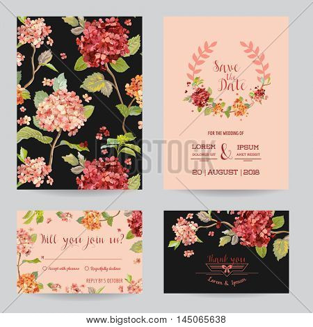 Save the Date - Wedding Invitation or Congratulation Card Set - Hortensia Flowers Theme - in vector