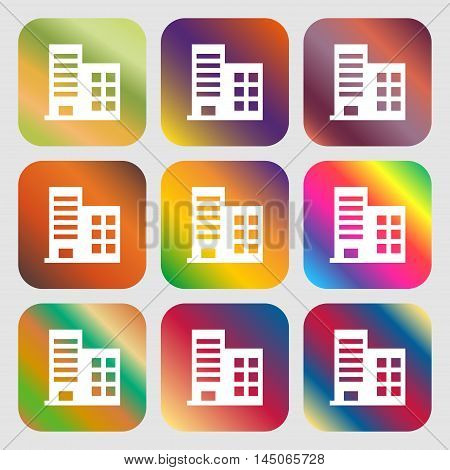 High-rise Commercial Buildings And Residential Apartments Icon. Nine Buttons With Bright Gradients F