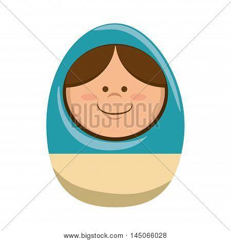 russian doll matryoshka traditional toy girl smiling cartoon vector illustration