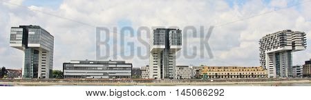 Crane Homes. Germany Skyscrapers. Rhine River Panorama View