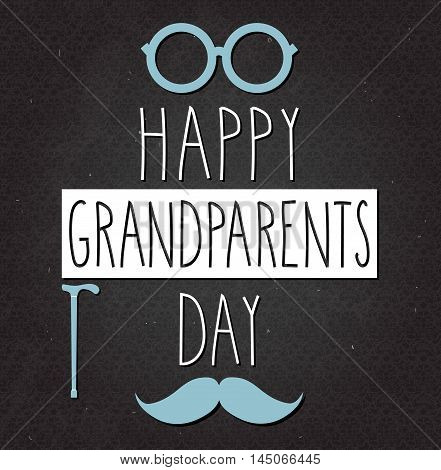 Grandparents Day poster on black chalkboard. Handwritten text. Vector illustration.