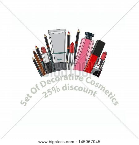 set of decorative cosmetics - eye shadow, liner, mascara, comb, brush, dropper, a balm for the eyes, eyebrow balm, tubes. 25 discount. vector illustration for cosmetic banners, brochures and promotional items
