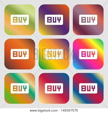 Buy, Online Buying Dollar Usd Icon. Nine Buttons With Bright Gradients For Beautiful Design. Vector