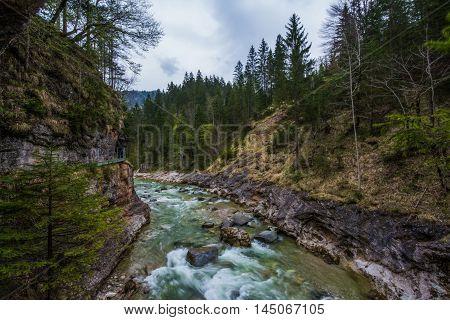 Tirol Gorge River Water Flowing Mountainscape Austria