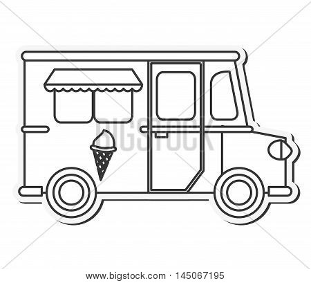 truck ice cream delivery fast food urban business icon. Flat and isolated design. Vector illustration