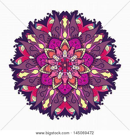 Decorative tribal mandala ornament rosette. Vector illustration.