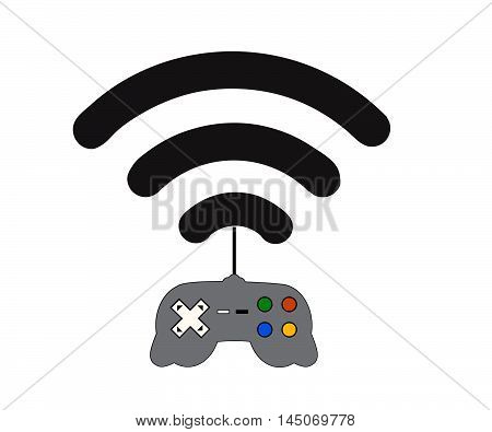 Playing video game on mobile phone app.Gaming and entertainment technology concept.Vector illustration.