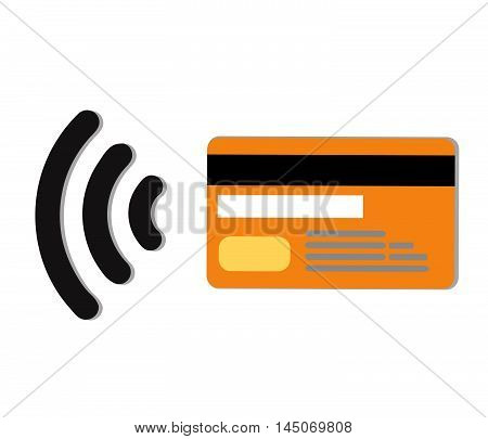 Contactless credit card vector.Wifi Mobile Pay.Symbol card sign icon. Virtual money.Online shopping..