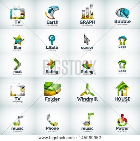 Vector set of web geometric internet logo icons
