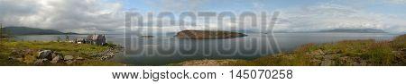 Panorama. Islands in the North lake. Islands Caltor at Norilsk lake Keta.