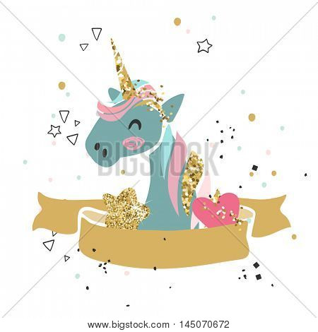 happy unicorn card