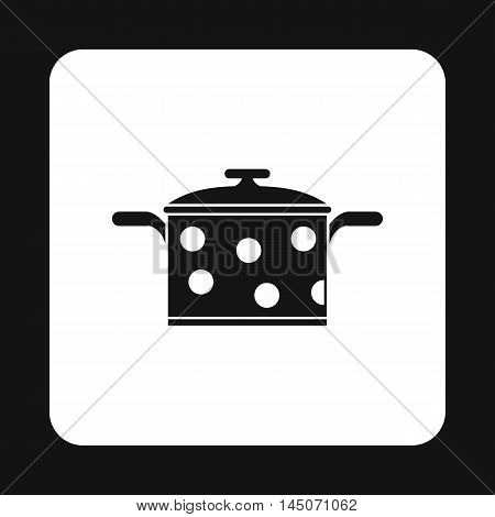 Black saucepan with white dots icon in simple style on a white background