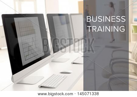 Business training concept. Modern computers