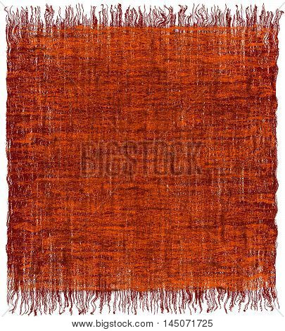 Weave grunge striped interlaced carpet with fringe in orangebrown colors