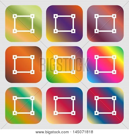 Crops And Registration Marks Icon. Nine Buttons With Bright Gradients For Beautiful Design. Vector