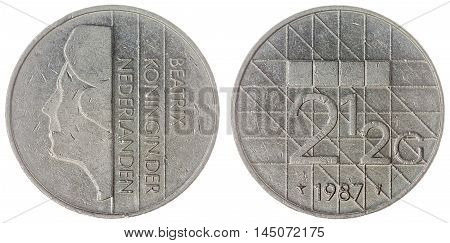 2,5 Gulden1987 Coin Isolated On White Background, Netherlands