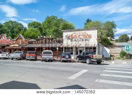 Winthrop Wa. USA -June 18 2009 : street scene with view of Saloon and dance hall in Winthrop Washington state USA