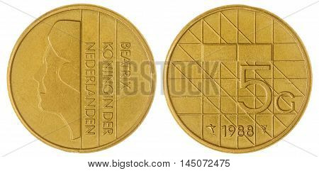 5 Gulden1988 Coin Isolated On White Background, Netherlands
