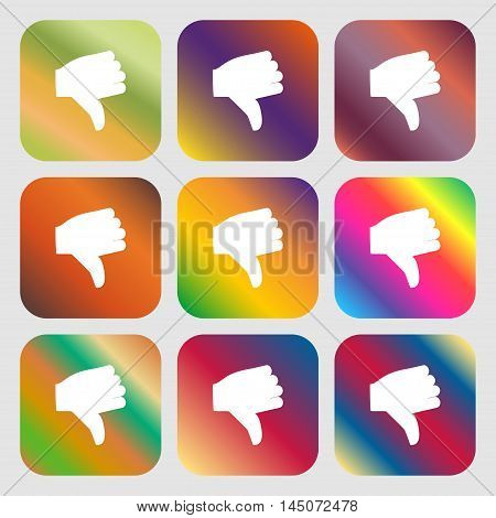 Dislike, Thumb Down Icon. Nine Buttons With Bright Gradients For Beautiful Design. Vector