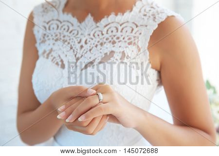 Bride hand with ring closeup