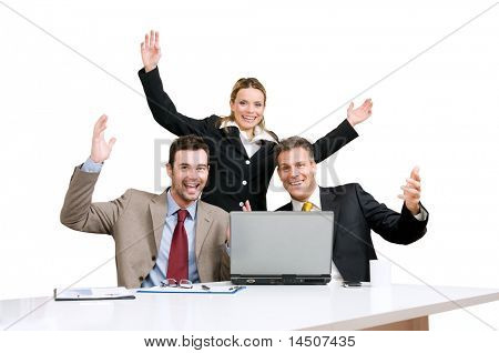 Happy smiling business team celebrate their new success isolated on white background