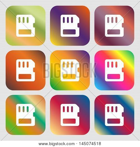Compact Memory Card Icon. Nine Buttons With Bright Gradients For Beautiful Design. Vector