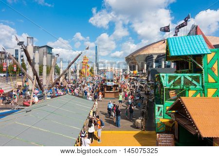 Cardiff United Kingdom - August 29 2016: Tourists and Locals enjoying the Bank Holiday at the bank holiday at the annual Cardiff Harbour Festival & P1 Welsh Grand Prix of the Sea in Cardiff Bay.