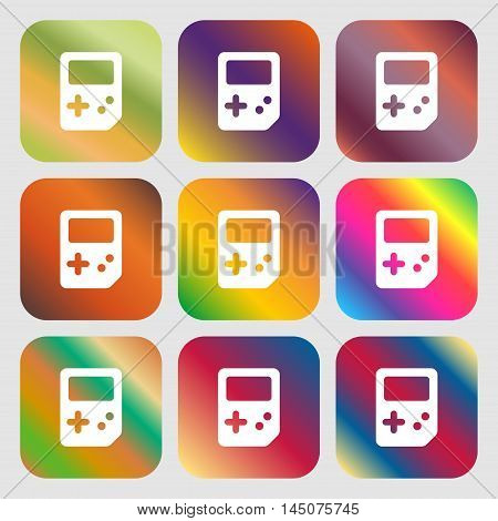 Tetris Icon. Nine Buttons With Bright Gradients For Beautiful Design. Vector