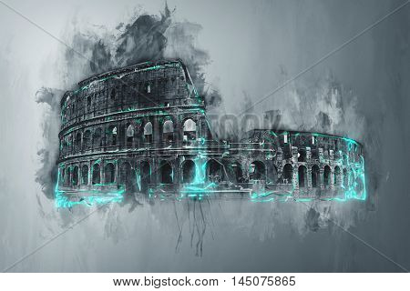 Artistic grunge watercolor painting of the Colosseum, Rome, Italy with brushstrokes, drips and colorful mint green highlights or accents on a graduated grey background