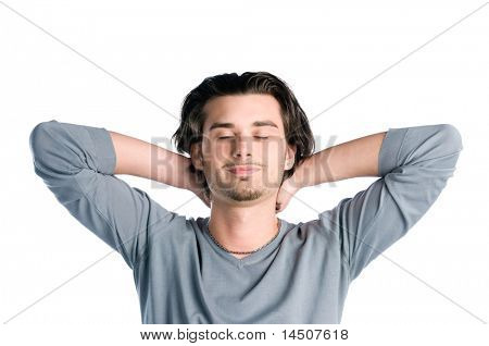 Young latin man taking a break and relaxing with closed eyes isolated on white background