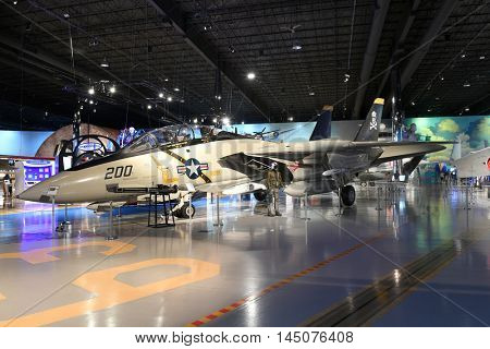 Kalamazoo, MI, USA - June 23, 2016: Grumman F-14A on display at the Air Zoo Museum in Kalamazoo, Michigan