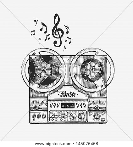 Hand drawn vintage reel to reel tape recorder. Sketch music. Vector illustration