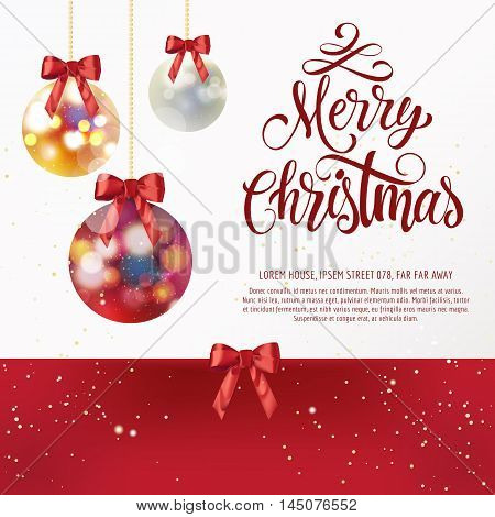 Merry Christmas lettering. Red Merry Christmas inscription with Christmas balls and bows. Handwritten text with decorative elements can be used for postcard, festive design, invitation card, poster, banner