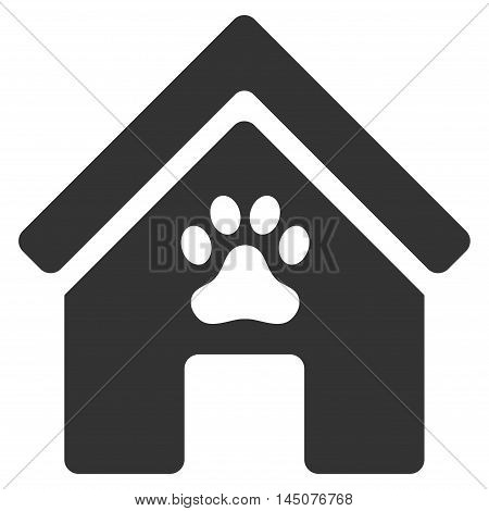 Doghouse icon. Vector style is flat iconic symbol, gray color, white background.