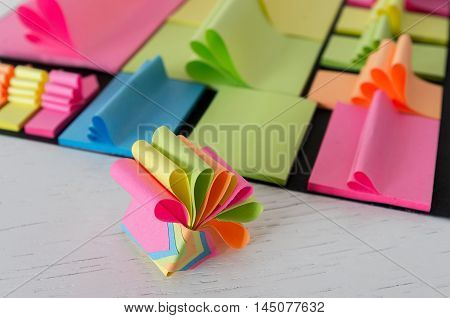 Sticky notes arranged in a creative way having different colors