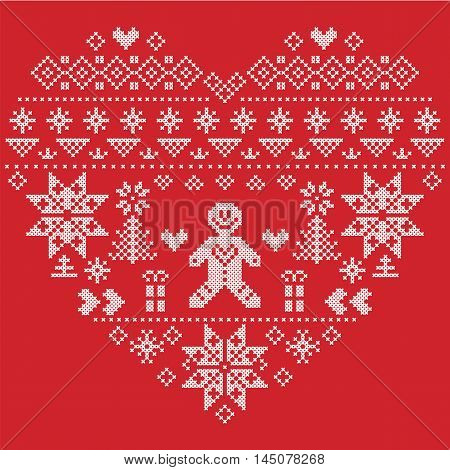 Heart Shape Scandinavian Printed Textile  style and inspired by  Norwegian Christmas and festive winter  pattern in cross stitch with Christmas tree, snowflakes, gingerbread man , hearts on red background