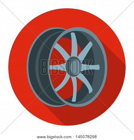 Car rims icon flat style. Single silhouette auto parts icon from the big car flat - stock vector
