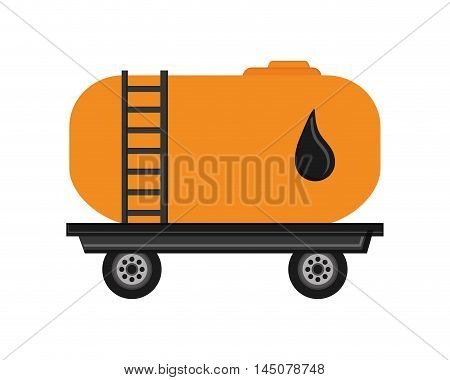 truck drop petroleum gasoline oil industry industrial icon. Flat and isolated design. Vector illustration