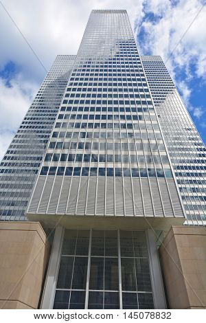 MONTREAL QUEBEC CANADA AUGUST 30 2016: Place ville Marie building .1 Place Ville Marie a 47-storey, cruciform office tower built in the International style in 1962.