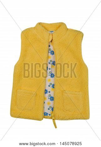 Yellow fleece vest. Isolate on white. clothing