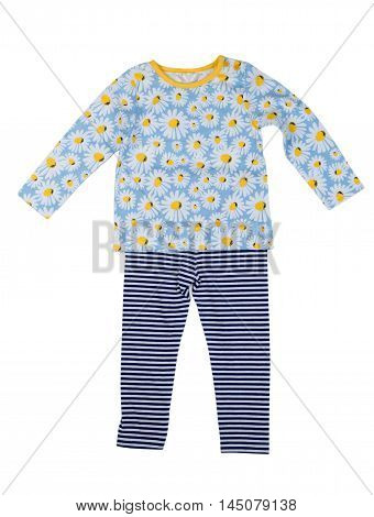 Children clothing with a pattern of daisy. Isolate on white.