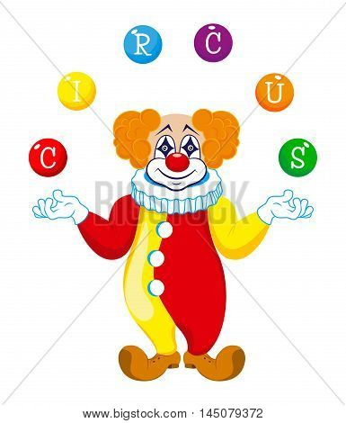 A clown juggles balls with the word circus
